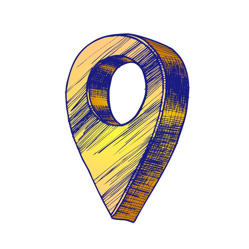 Vector moderno del símbolo de la ubicación de los Gps del indicador del mapa de color stock de ilustración