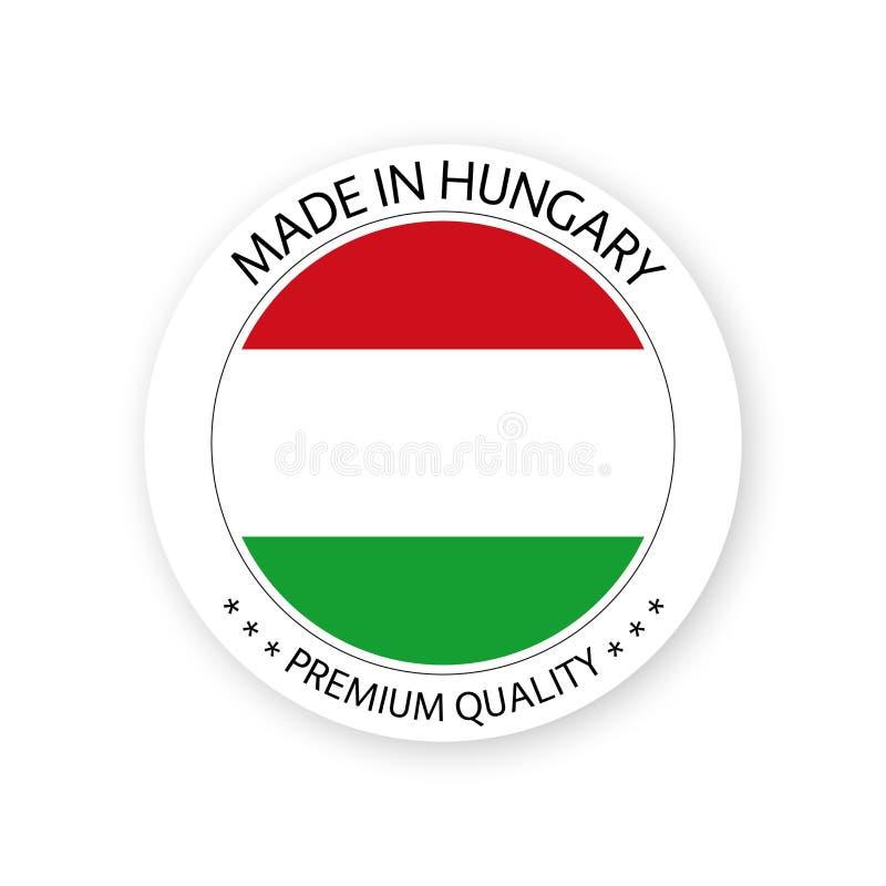 Vector moderno hecho en la etiqueta de Hungría aislada en el fondo blanco libre illustration