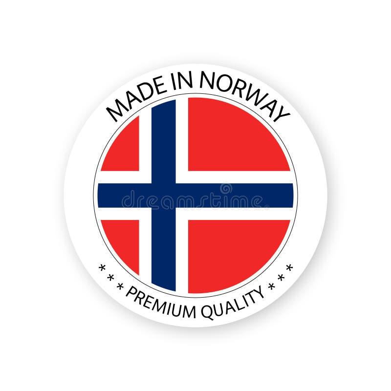 Vector moderno hecho en la etiqueta de Noruega aislada en el fondo blanco ilustración del vector