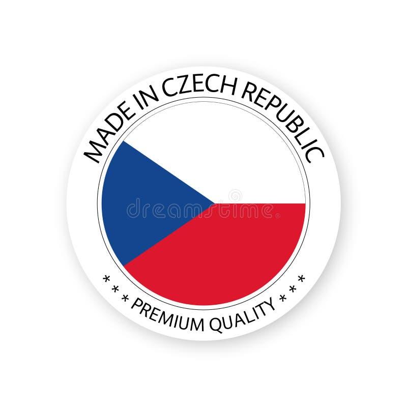 Vector moderno hecho en la República Checa aislada en el fondo blanco ilustración del vector