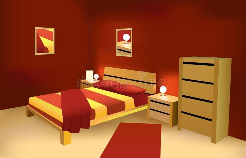 Vector moderno rojo del dormitorio stock de ilustración