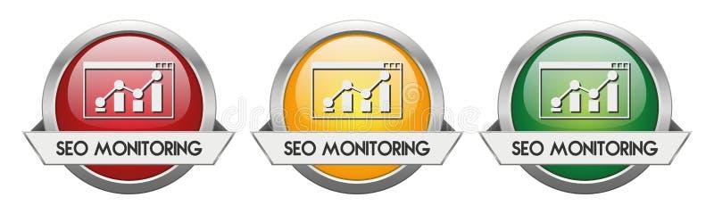 Vector moderno SEO Monitoring del botón ilustración del vector