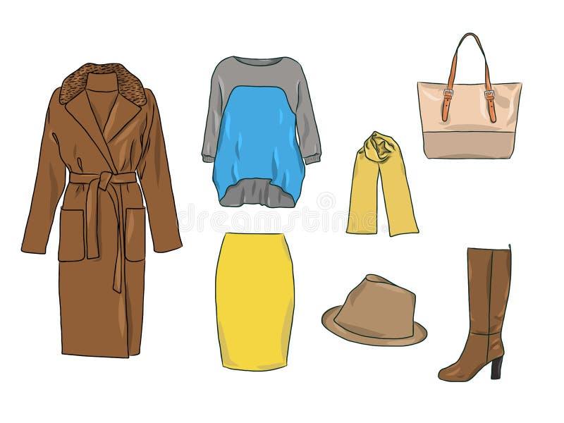 Vector modieuze manierreeks de vrouwen` s herfst, de lente of de winterkleren en toebehoren Toevallige kleurrijke uitrusting met  vector illustratie