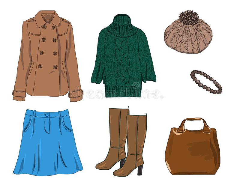 Vector modieuze manierreeks de vrouwen` s herfst, de lente of de winterkleren en toebehoren Toevallige kleurrijke uitrusting met  royalty-vrije illustratie
