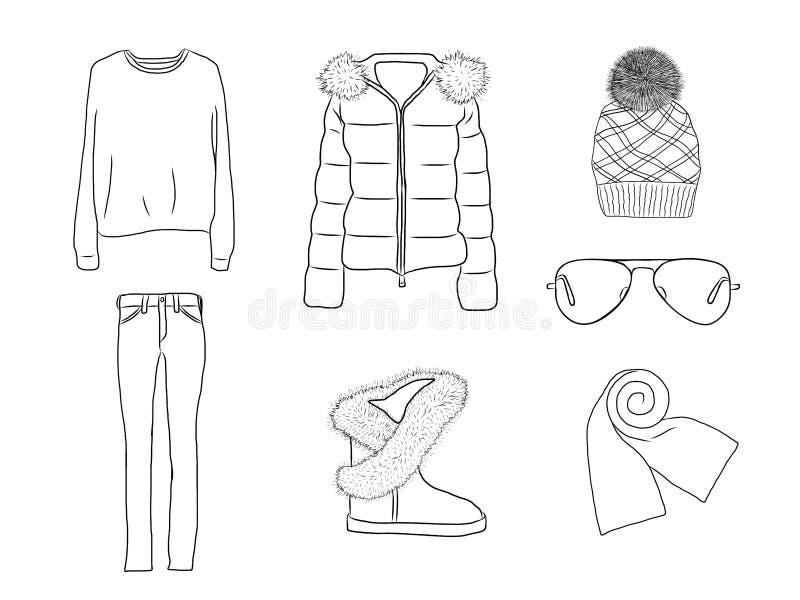 Vector modieuze manierreeks de vrouwen` s herfst, de lente of de winterkleren en toebehoren Toevallige zwart-witte uitrusting met vector illustratie
