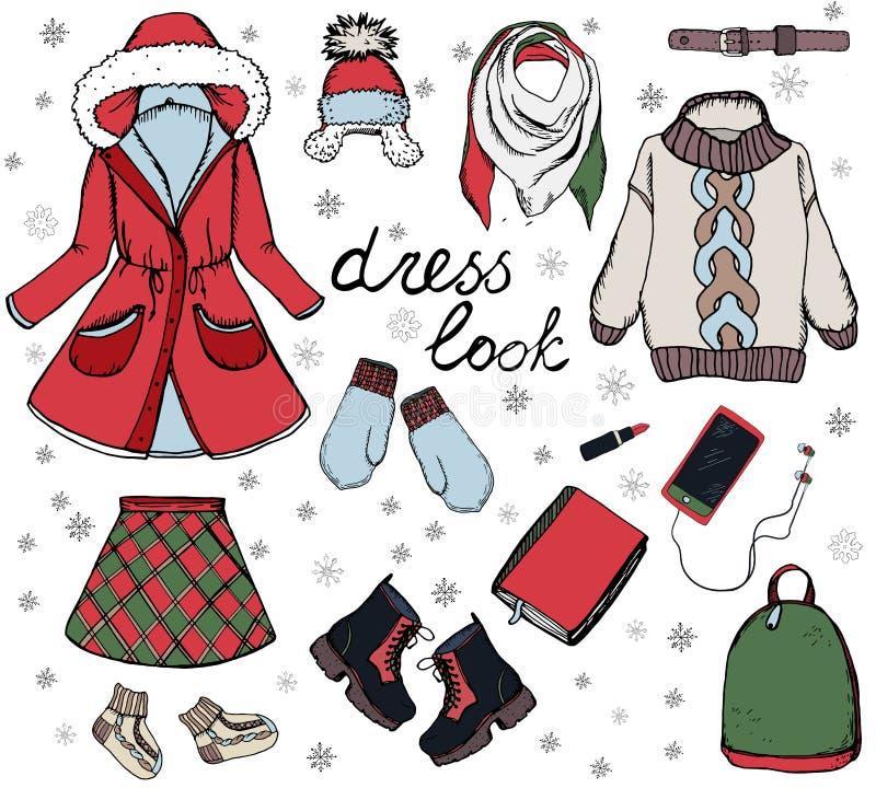 Vector modieuze manierreeks de vrouwen` s herfst of de winterkleren en toebehoren Toevallige kleurrijke uitrusting met rok royalty-vrije illustratie
