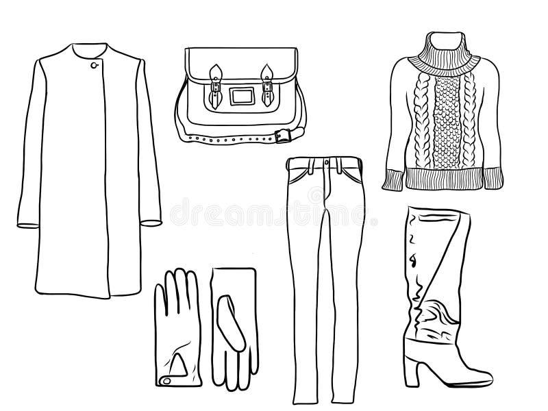 Vector modieuze manierreeks van de van de de vrouwen` s herfst, lente of winter kleren en toebehoren, silhouet Toevallige kleurri royalty-vrije illustratie