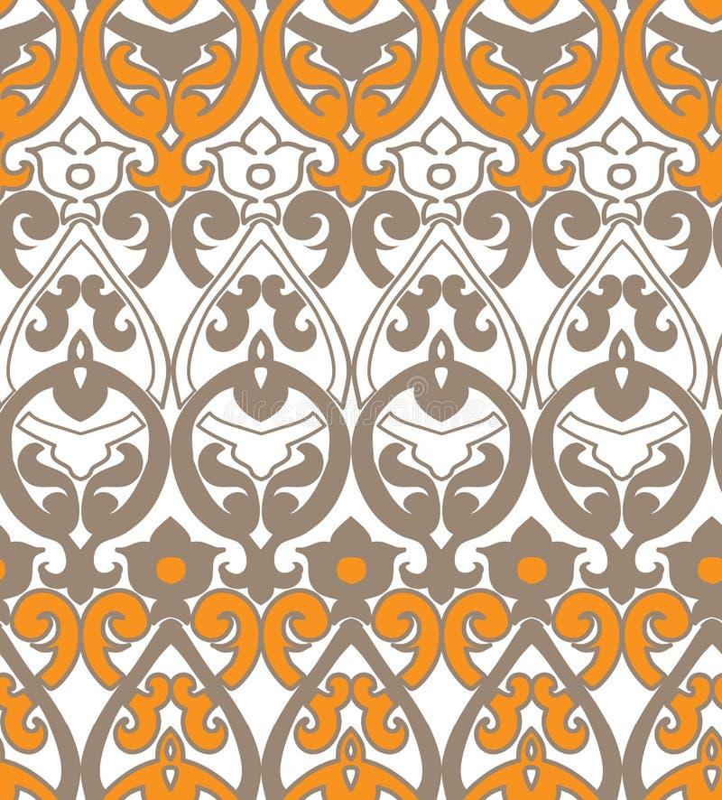 Vector modieuze naadloze kleurrijke geel van het damastpatroon royalty-vrije illustratie