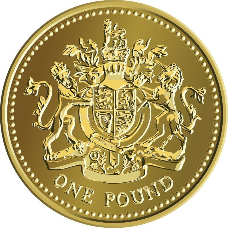 Vector a moeda de ouro britânica do dinheiro uma libra com a brasão ilustração royalty free