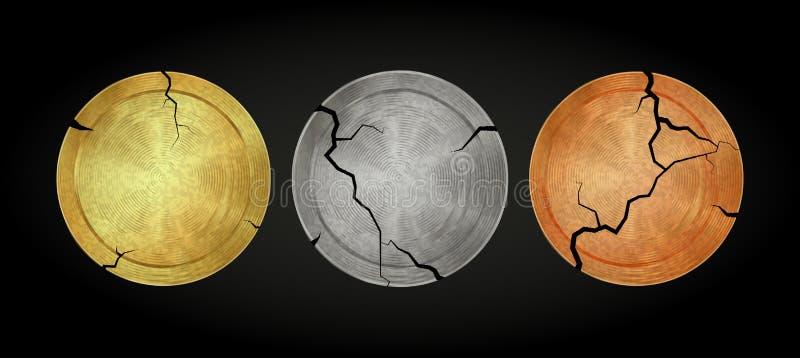 Vector moedas antigas vazias velhas do bronze da prata do ouro ilustração stock