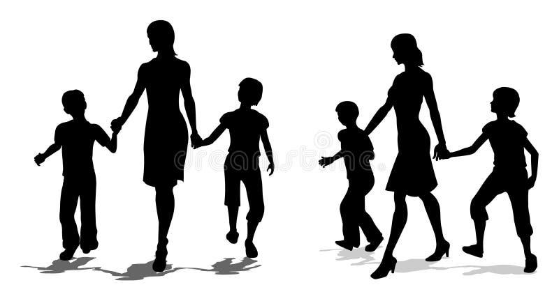 Vector moeder met kinderensilhouet royalty-vrije illustratie