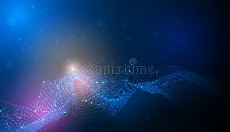 Vector moléculas e a malha 3D abstratas com efeito da luz, linhas da onda, teste padrão ondulado ilustração royalty free