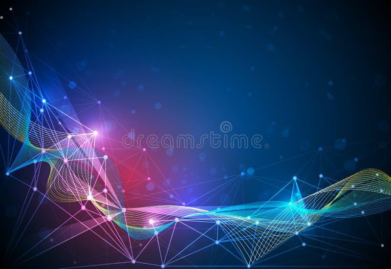 Vector moléculas e malha 3D com círculos, linhas, geométrico, poligonais, teste padrão do triângulo ilustração stock