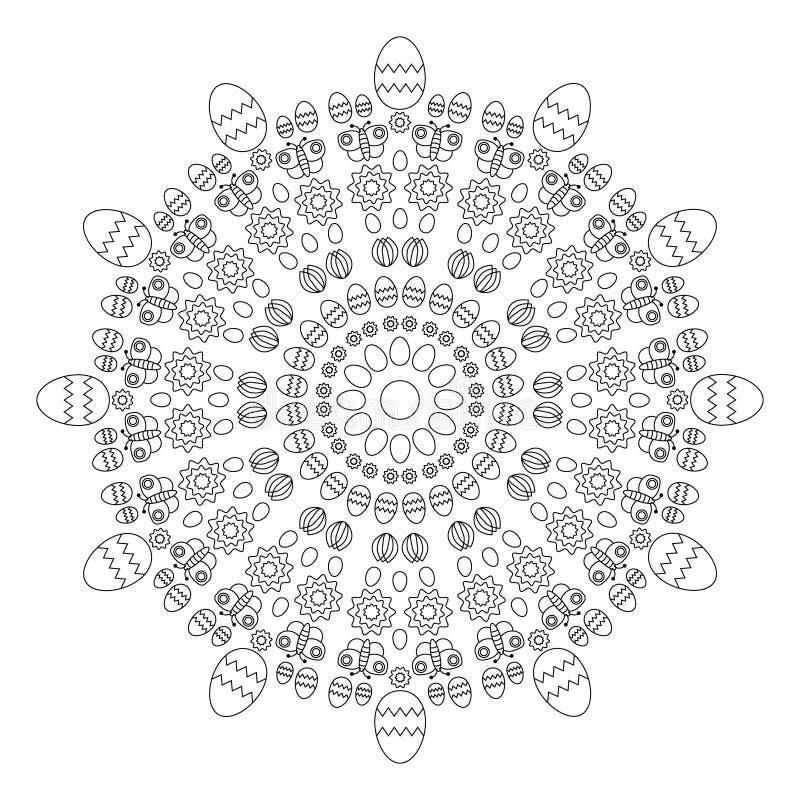 Vector a mola circular easter da mandala do teste padrão do livro para colorir adulto preto e branco - fundo com ovos ilustração stock