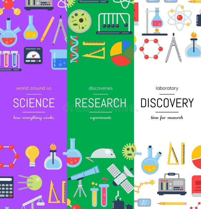Vector moldes da bandeira da Web com ícones lisos da ciência do estilo ilustração royalty free