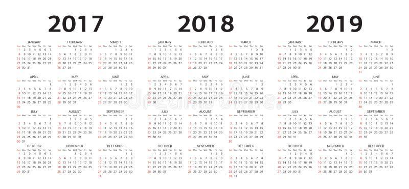 Vector moldes do calendário 2017, 2018, 2019 ilustração royalty free