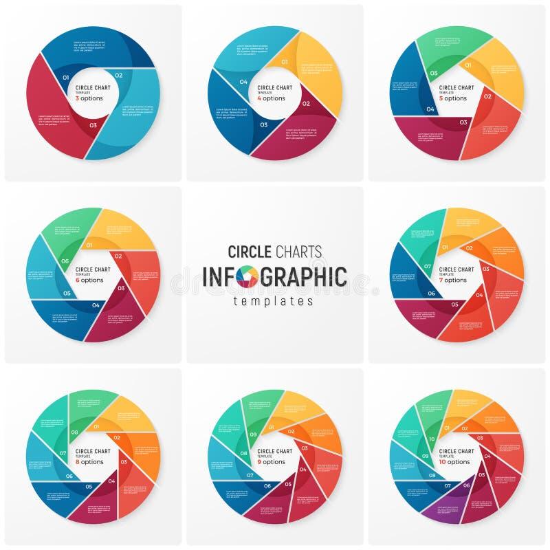 Vector moldes infographic da carta do círculo para o visualização dos dados ilustração stock