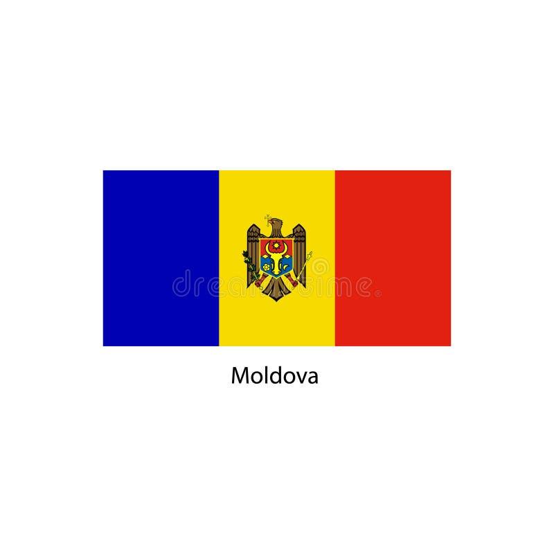 Vector Moldova flag, Moldova flag illustration, Moldova flag picture. Moldova flag image stock illustration