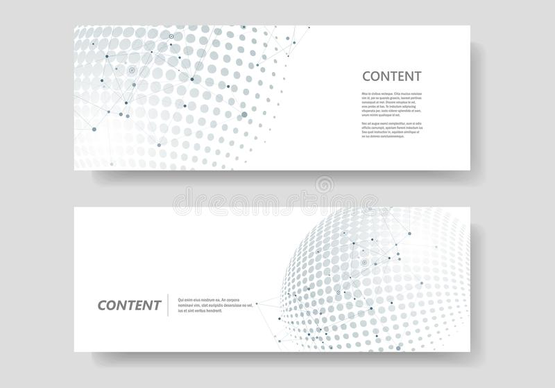 Vector molecule connect with halftone abstract circle dots royalty free illustration