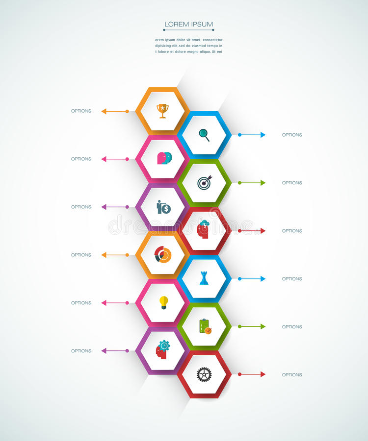 Vector molecule with 3D paper label, integrated circles background. Blank space for content, business, infographic, diagram, digital network, flowchart. Social royalty free illustration
