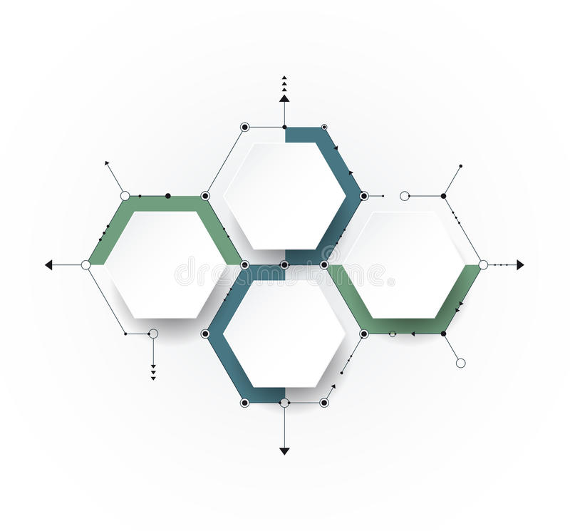 Vector molecule with 3D paper label, integrated Hexagon backgroud. Vector molecule with 3D paper label, integrated Hexagon background. Blank space for content stock illustration