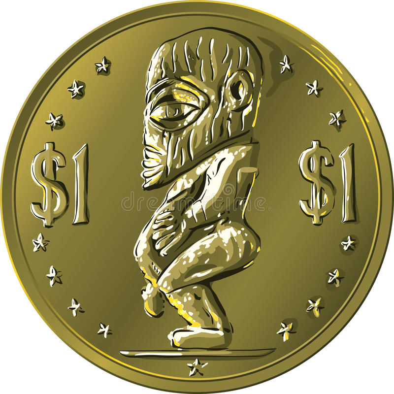 Vector money gold coin Cook Islands Dollar royalty free illustration