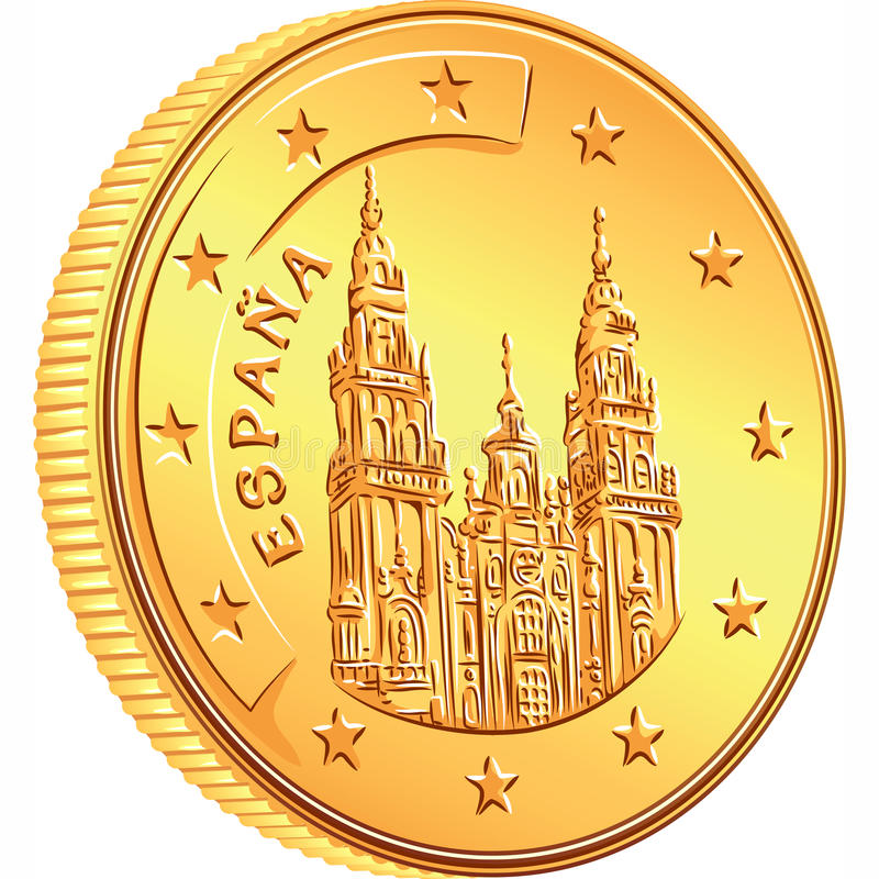 Vector money gold coin Spanish euro royalty free stock images