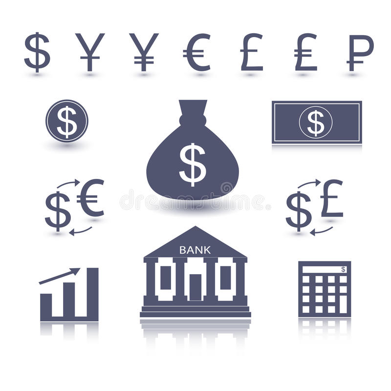 Vector money symbol. Currency signs - dollar euro yen yuan pound lira rouble pound. Vector money symbol. Business icon vector illustration