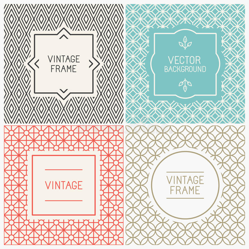 Vector mono line graphic design templates. Labels and badges on decorative backgrounds with simple patterns royalty free illustration