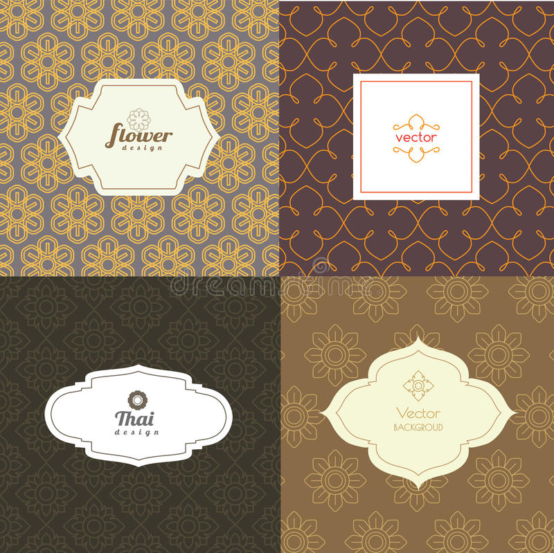 Vector mono line graphic design templates. Labels and badges on decorative backgrounds ,style thai pattern.vector illustration vector illustration