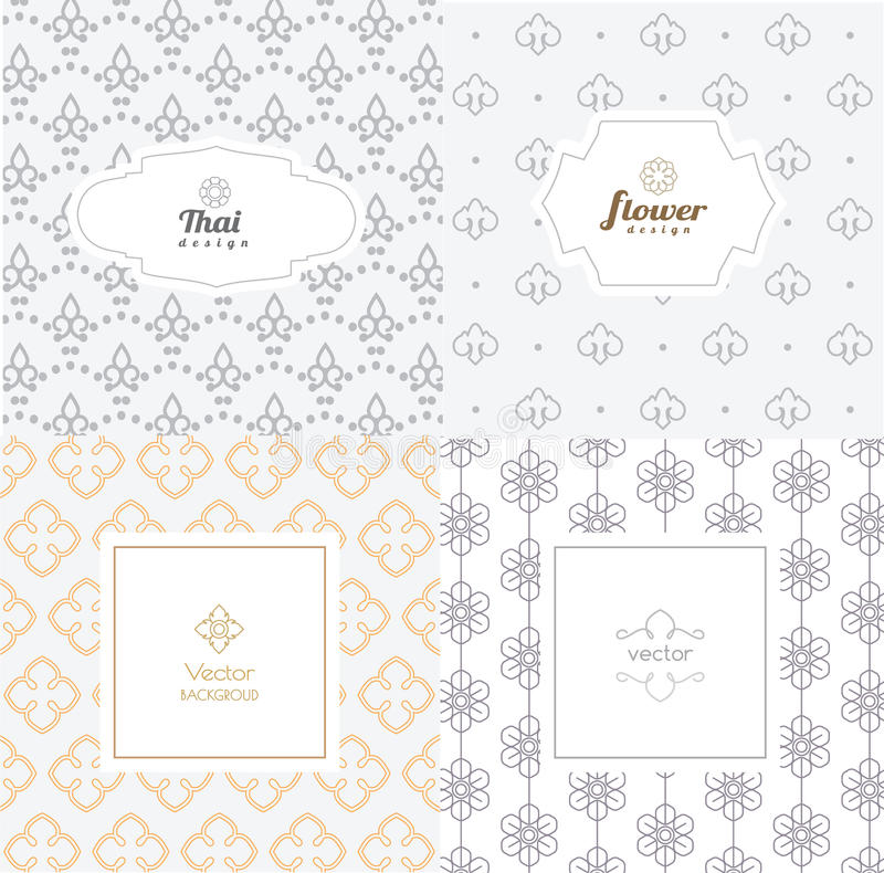 Vector mono line graphic design templates - labels and badges. On decorative backgrounds ,style thai pattern.vector illustration stock illustration
