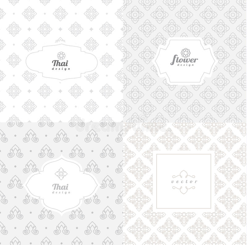 Vector mono line graphic design templates - labels. And badges on decorative backgrounds ,style thai pattern.vector illustration stock illustration