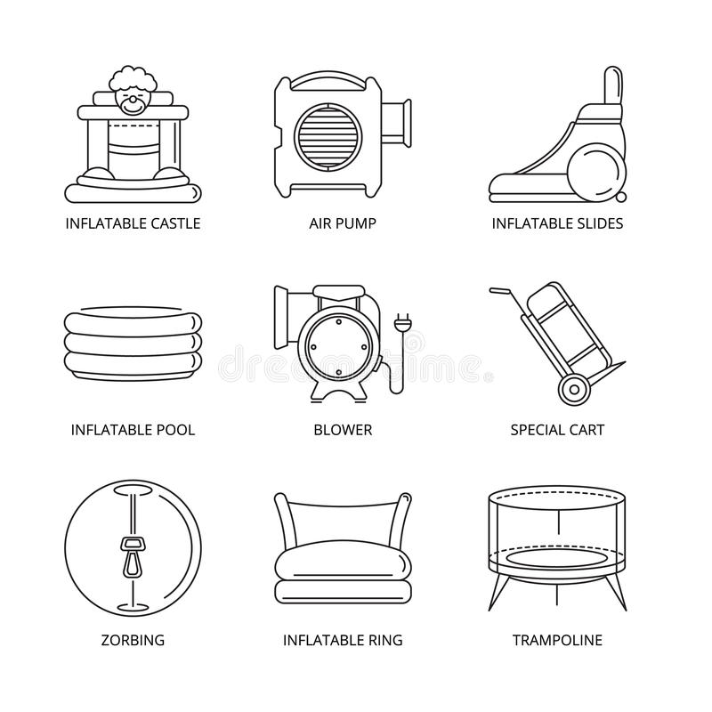 Vector mono line icons set of inflatable castles royalty free illustration