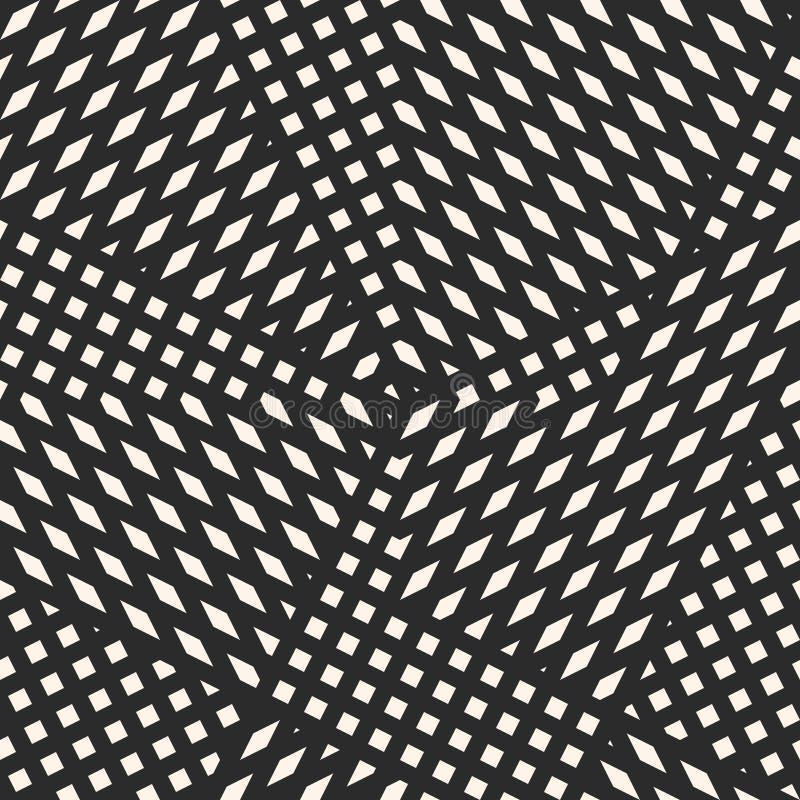 Vector monochrome геометрическая безшовная картина с пересекать раскосные линии, нашивки, малые элементы иллюстрация штока