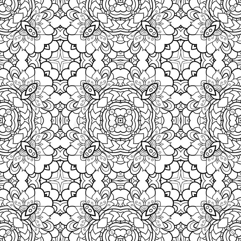 Vector Monochrome Abstract Pattern. Vintage Lace. Deco Ornament. For Coloring royalty free illustration