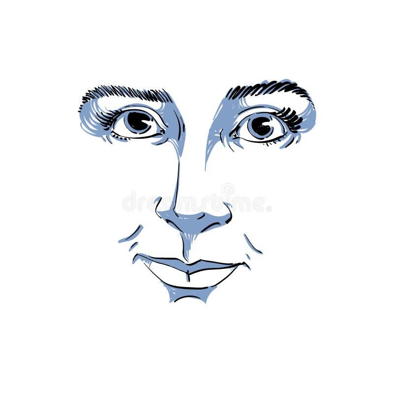 Vector monochrome art drawing, portrait of gorgeous dreamy girl vector illustration
