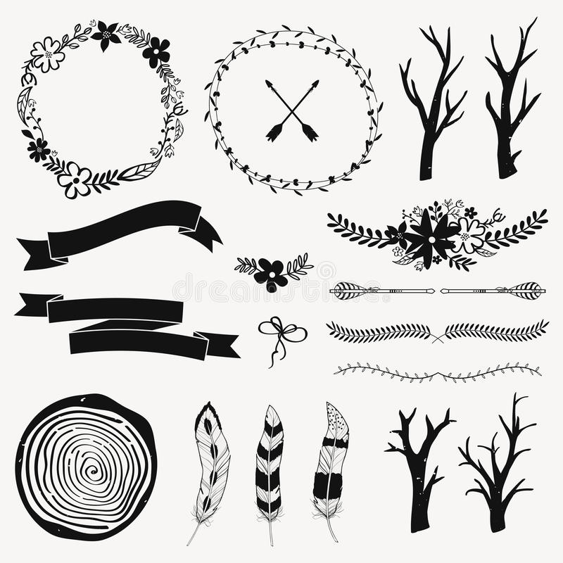 Vector Monochrome Decoration Set With Arrows, Feathers, Floral ...