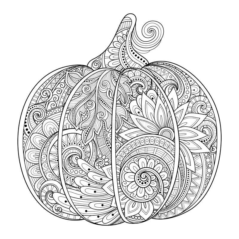 Vector Monochrome Decorative Punkim with Beautiful Pattern vector illustration