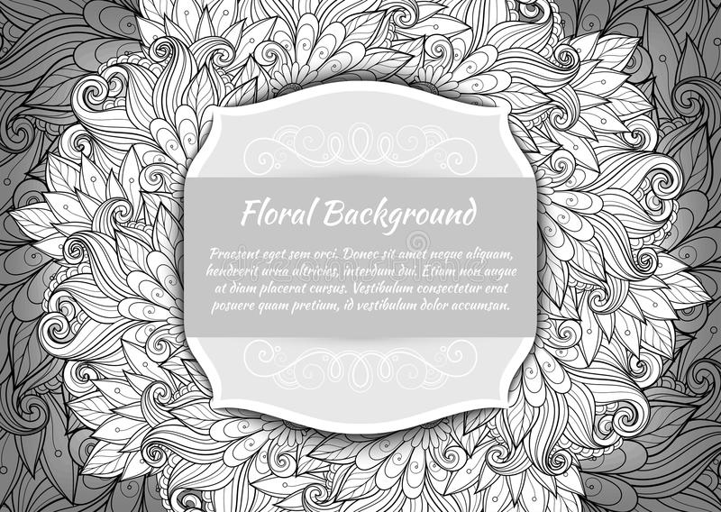 Vector Monochrome Floral Template with Place for Text. Abstract Flowers with Hand Drawn Ornament. Layout for Greeting Card, Cover Page etc. Clipping Mask Used vector illustration