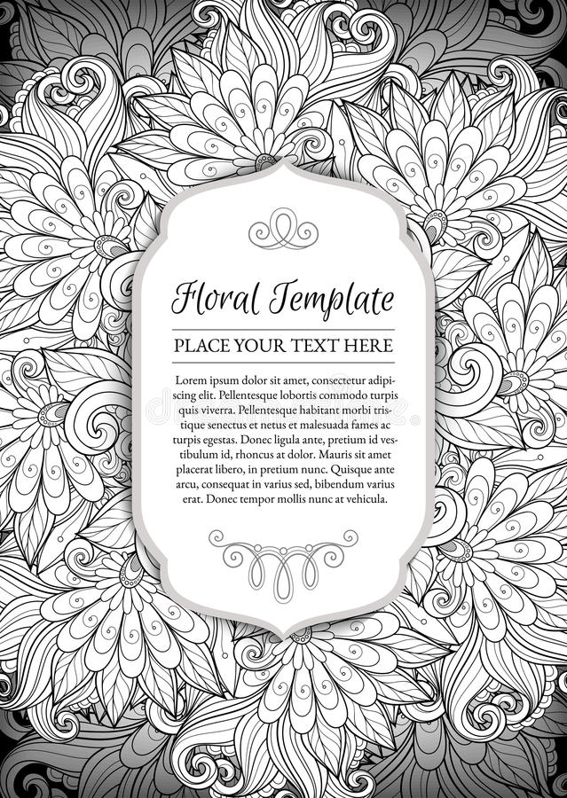 Vector Monochrome Floral Template with Place for Text. Abstract Flowers with Hand Drawn Ornament. Layout for Greeting Card, Cover Page etc. Clipping Mask Used stock illustration