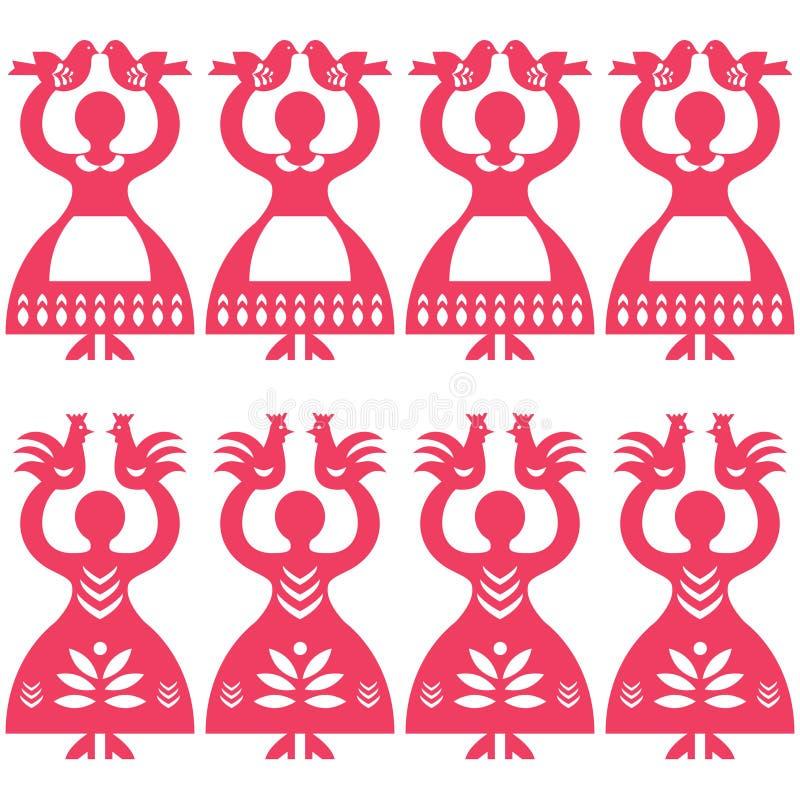 Polish folk art seamless vector pattern Wycinanki Kolbielskie - Kolbiel Papercuts with women holding birds. Vector monochrome folk repetitive design from the vector illustration