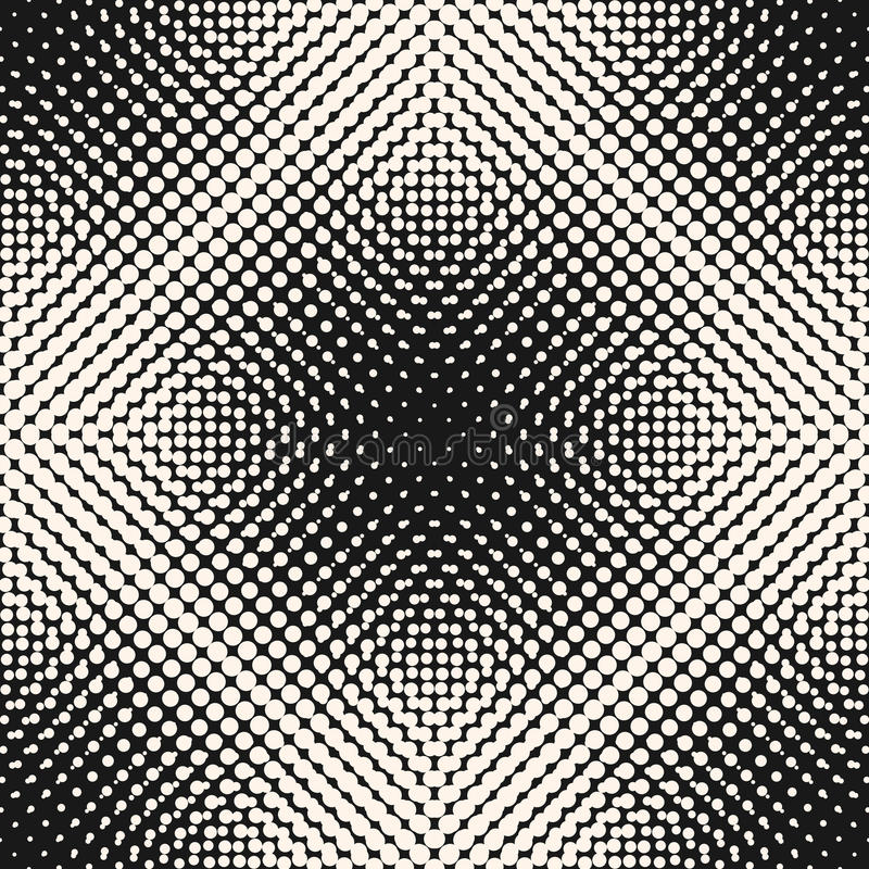 Vector monochrome halftone seamless pattern, gradually transition circles vector illustration