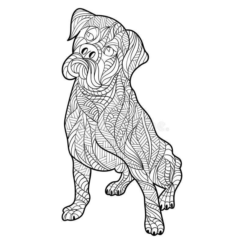 Vector monochrome hand drawn zentagle illustration of for Boxer puppy coloring pages