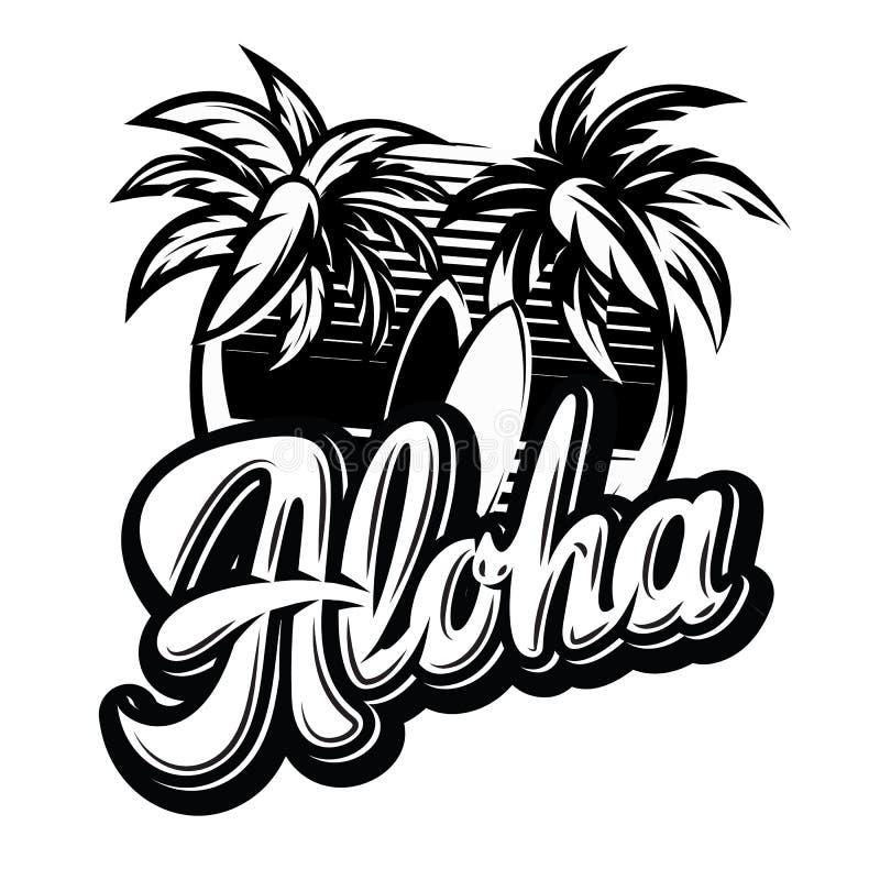Vector monochrome illustration on aloha with a palm.  vector illustration