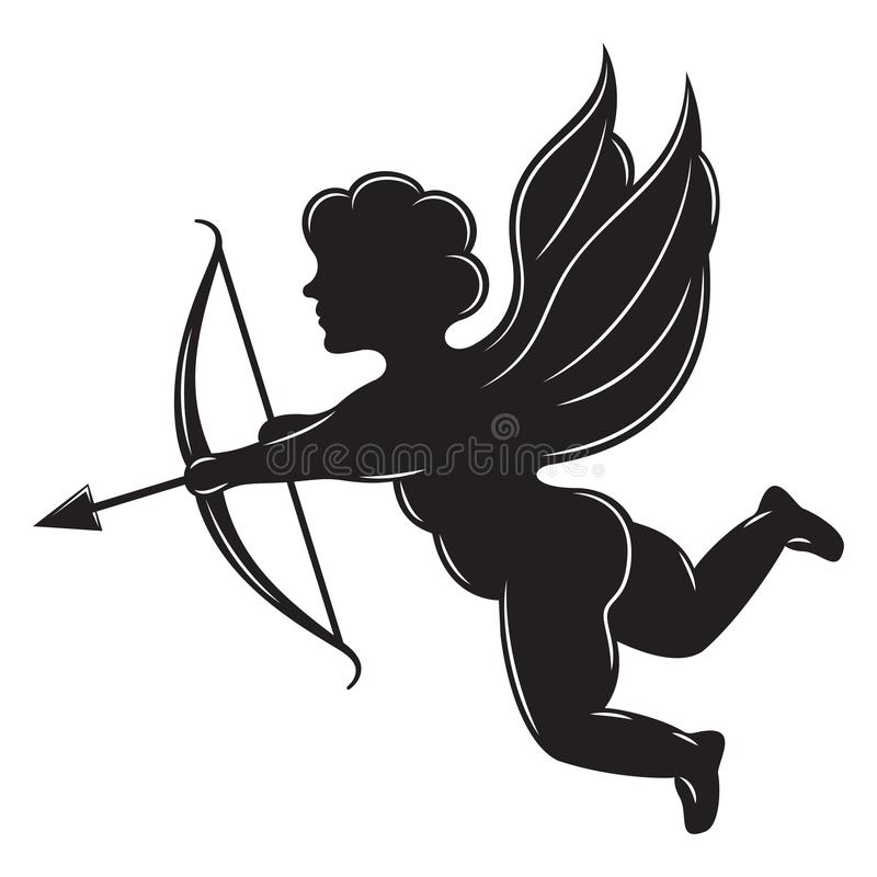 Vector monochrome illustration with angel, cupid and arrow.  royalty free illustration