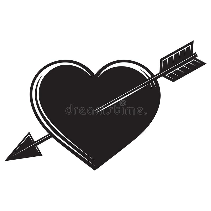 Vector monochrome illustration with an arrow in the heart.  vector illustration