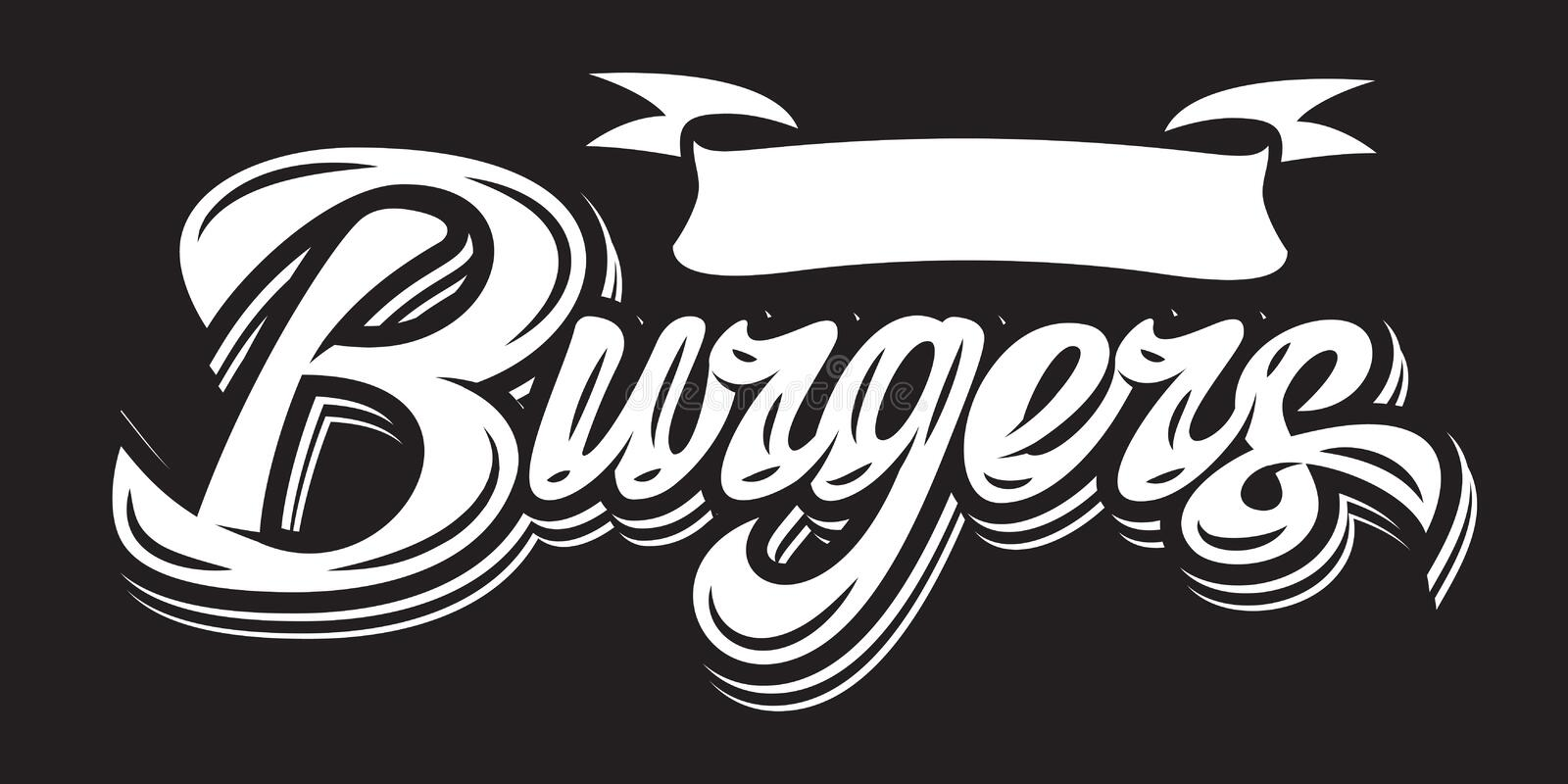 Vector monochrome illustration with calligraphic burger lettering.  royalty free illustration