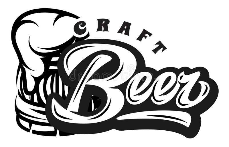 Vector monochrome illustration with calligraphic inscription - Beer and mug.  stock illustration