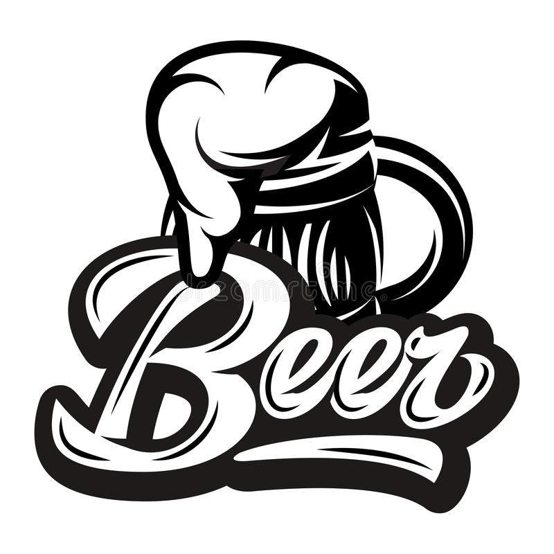Vector monochrome illustration with calligraphic inscription - Beer and mug.  vector illustration