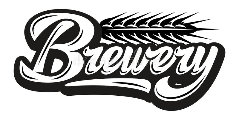 Vector monochrome illustration with calligraphic inscription - brewery and spikelet.  stock illustration